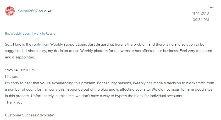 weebly no longer works in many former CIS countries (including Russia).