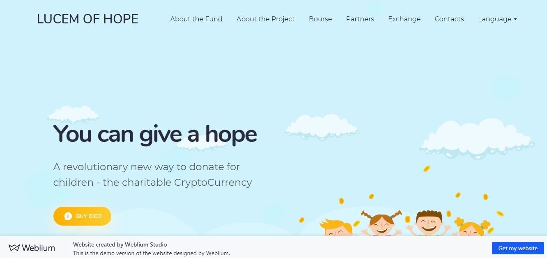Lucem of hope: light blue background website example