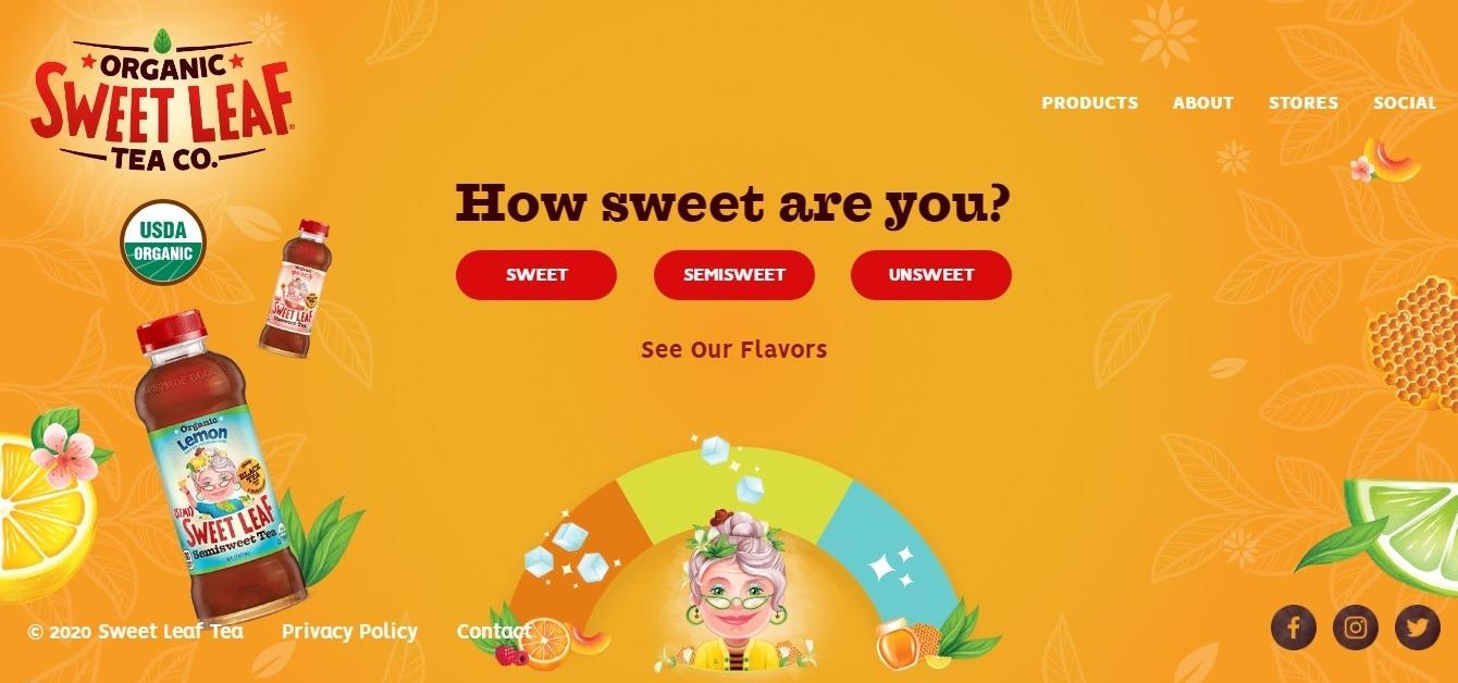 Sweet Leaf Tea: orange background website example