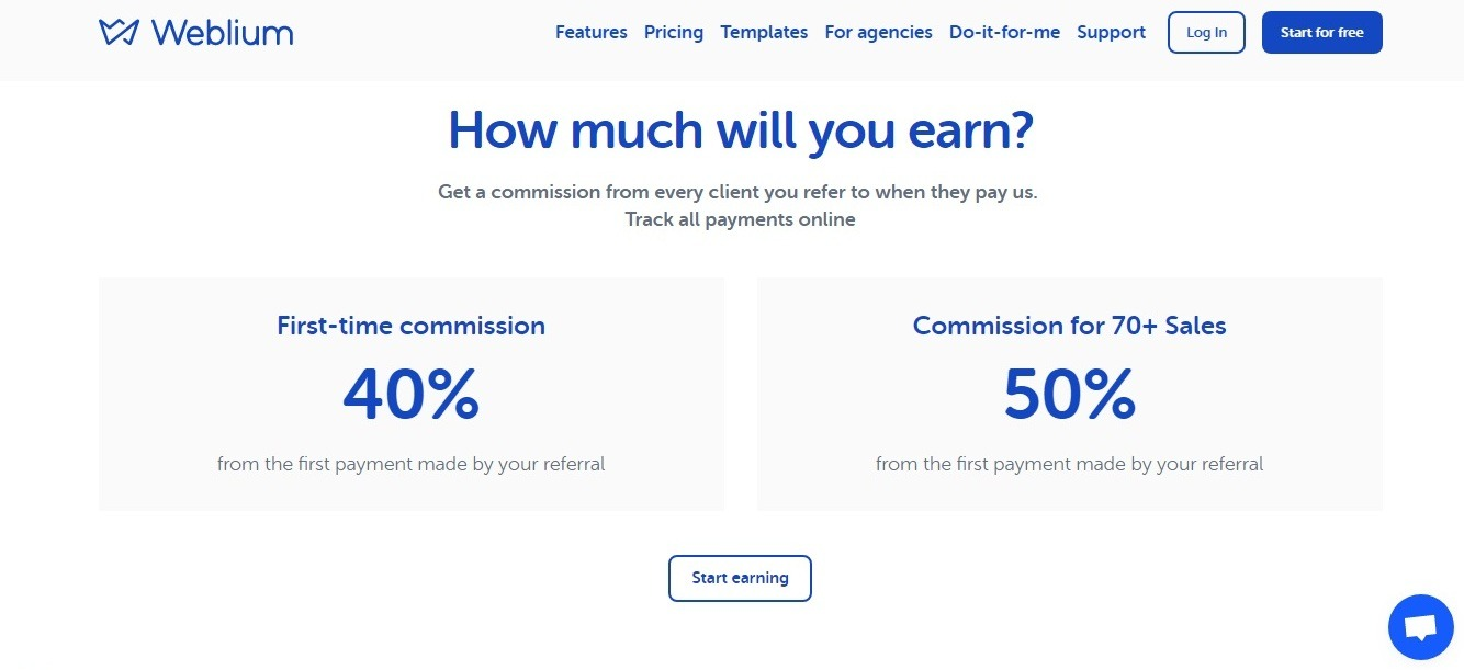 What Weblium affiliate program offers