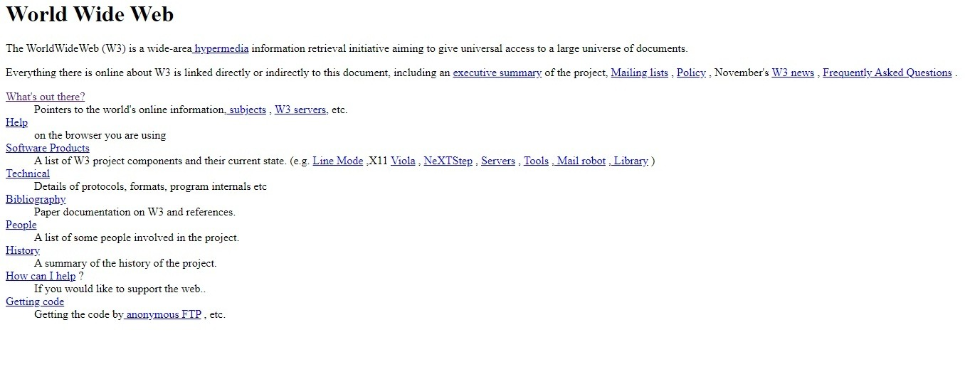 and this is what the first website in history looked like: