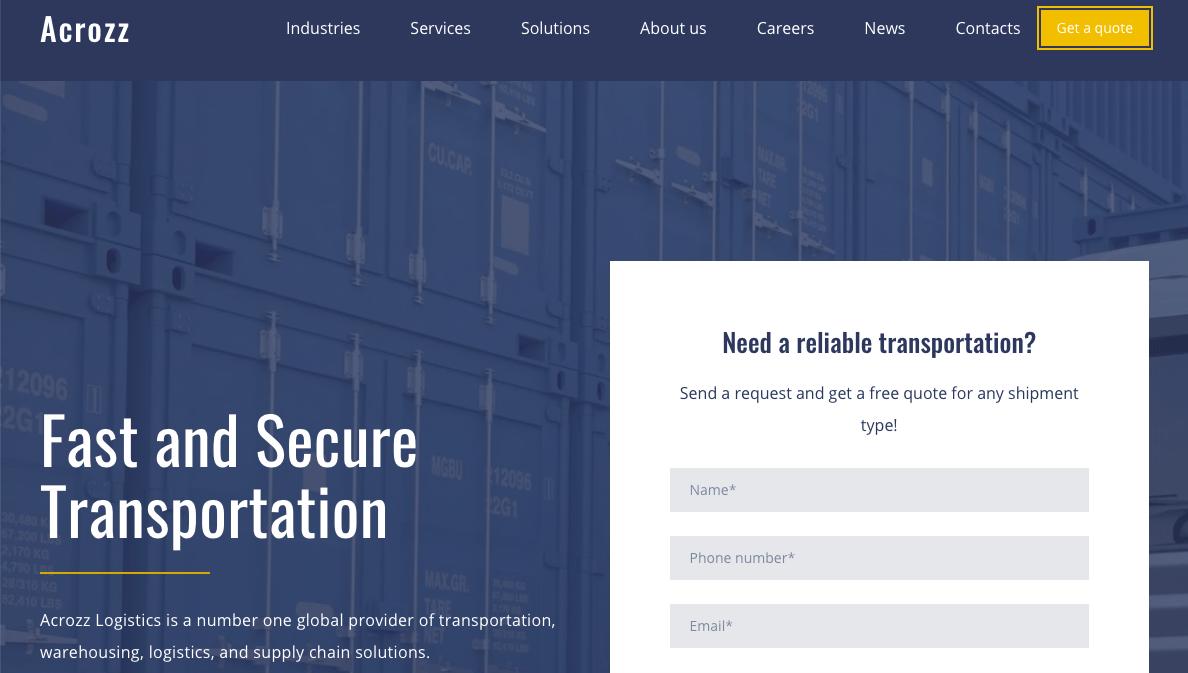 trucking logistics website templates