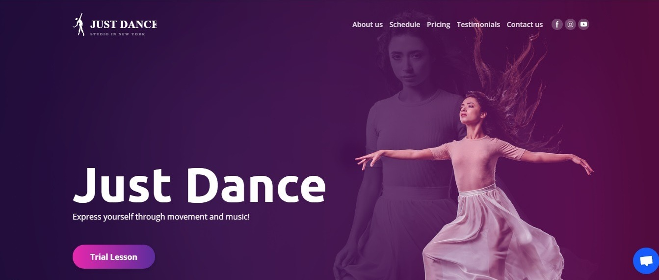 Just Dance studio (Weblium professional dance studio website template)