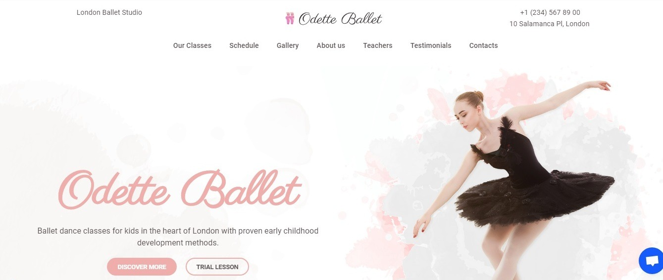 dance studio website - step 2