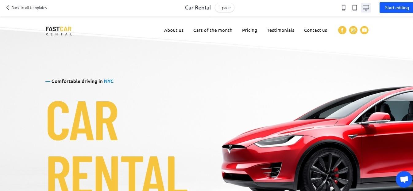 car rental white background website