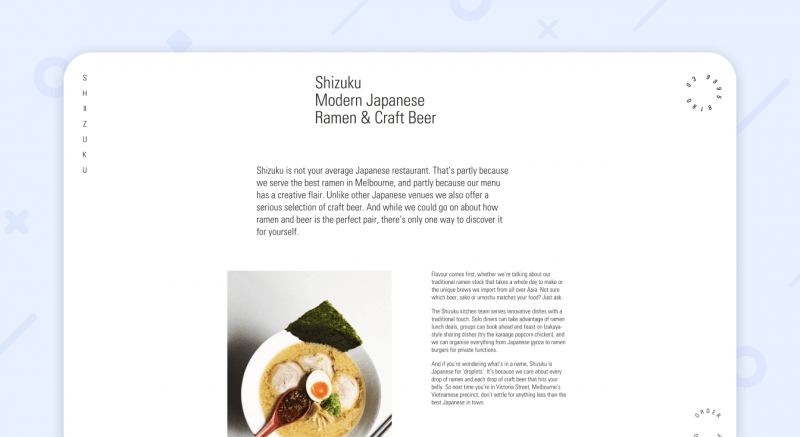 Shizuku web restaurant