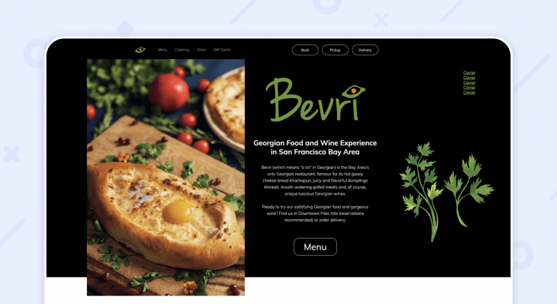 Bevri website restaurant