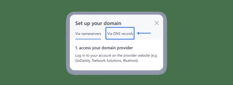 connect domain via DNS records