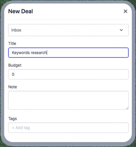 CRM adding deals manually