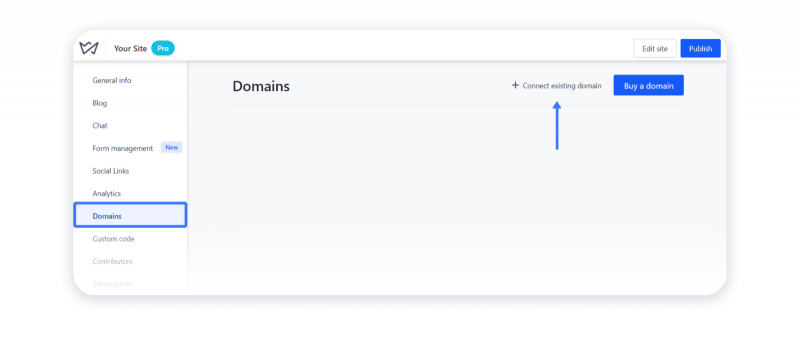 Connect existing domain