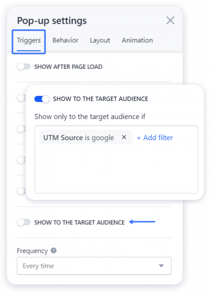Showing a Pop-up to Your Target Audience with UTM