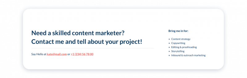 Marketing Portfolio Contacts