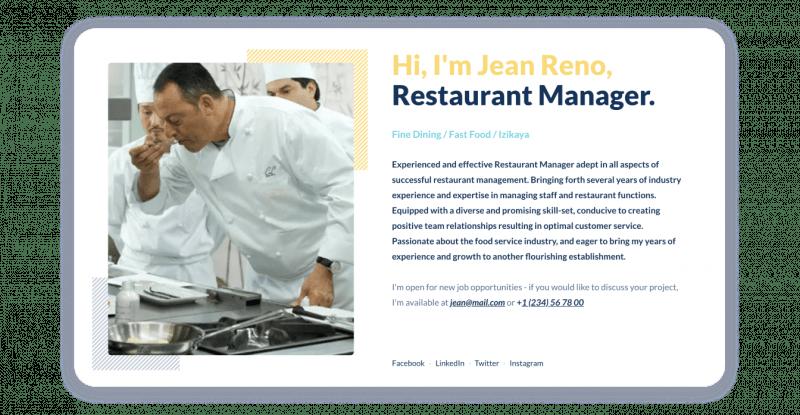 Effective Restaurant Manager Resume Structure