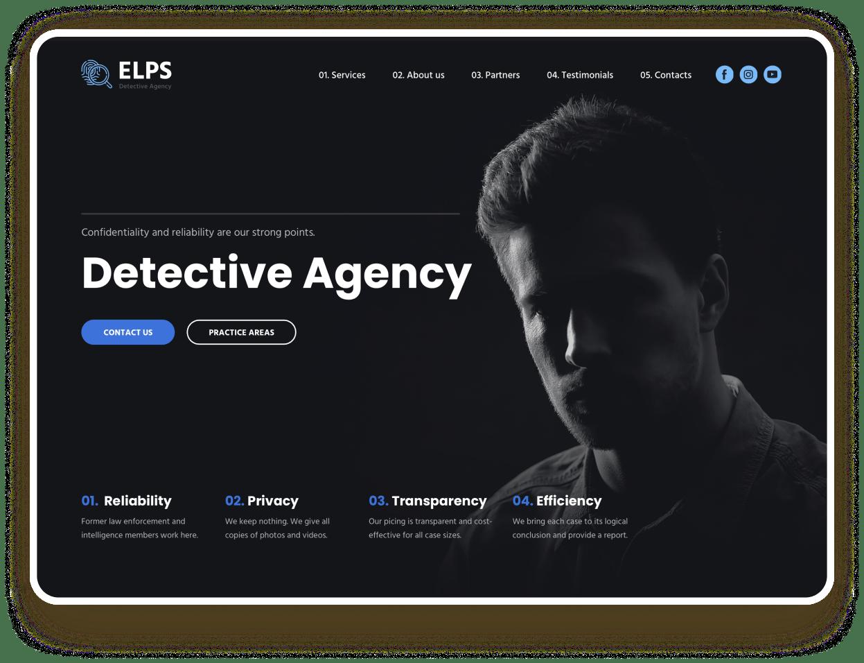 detective agency website templates weblium