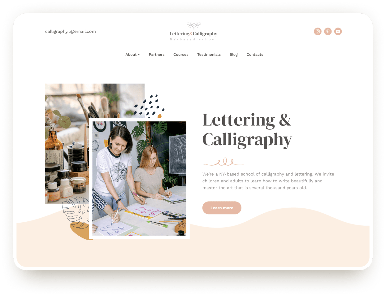 lettering and caligraphy school website template weblium