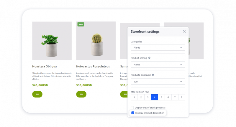 Product description in the Storefront block