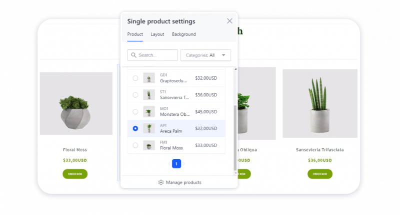 Updated settings of the Product cart element