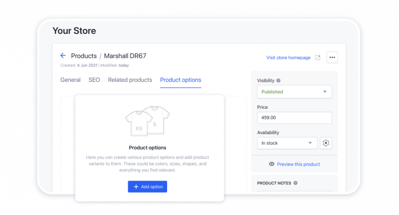 Adding variations of products to the store