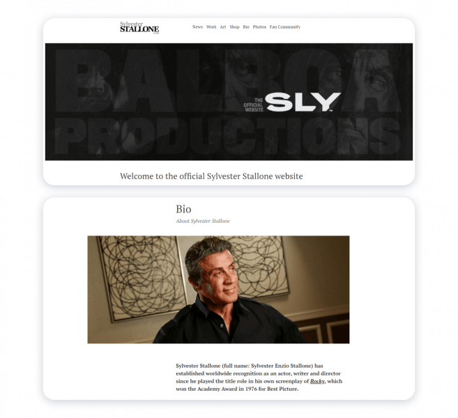 stallone actor websites example