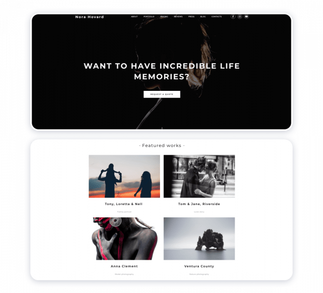 Nora Hovard photography website